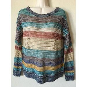 Full Tilt Open Stitch Knit Long Sleeve Sweater